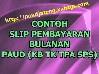 Contoh Kartu Slip Pembayaran Bulanan PAUD untuk Bayar SPP slip info pembayaran bulanan tk kb tpa sps
