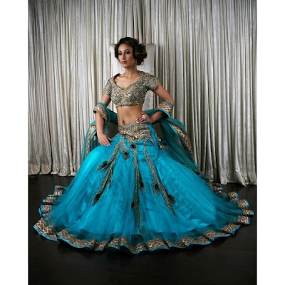 Turquoise Reception Cocktail Lehenga