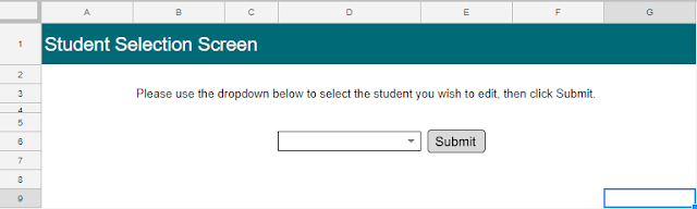 Image of the Student Selection Screen
