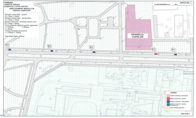 Propunere amplasament module in Parcul Cancicov