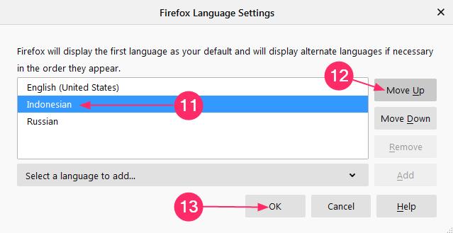 pengaturan bahasa mozilla firefox