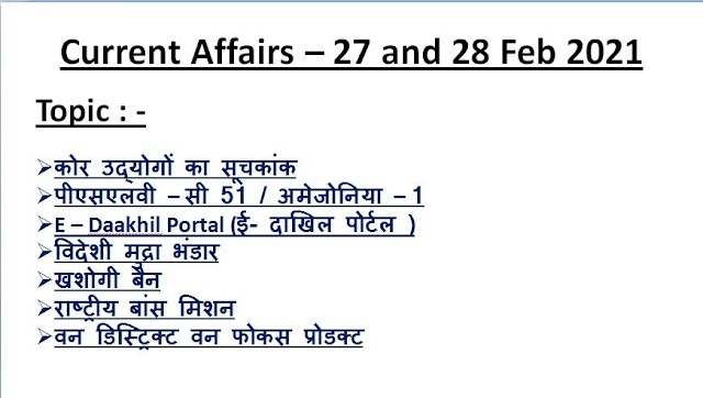 Today Current Affairs In Hindi - 27 and 28 Feb 2021