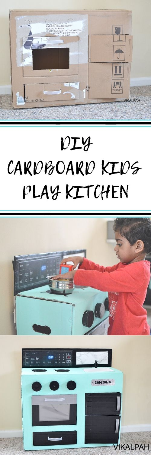 DIY play kitchen using cardboard simple tips and hacks to make it colorful