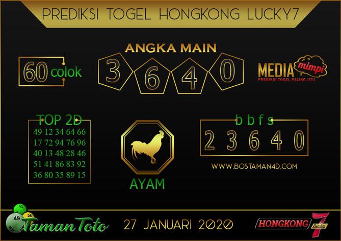 Prediksi Togel HONGKONG LUCKY 7 TAMAN TOTO 27 JANUARI 2020