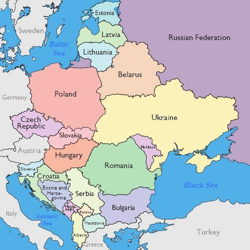 Large Printable Map Eastern Europe Capitals