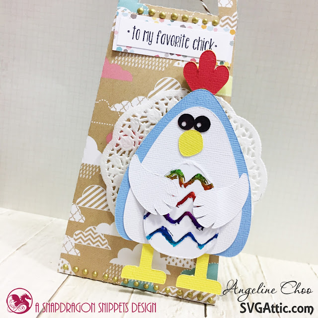 ScrappyScrappy: My Favorite Chick with SVG Attic #svgattic #scrappyscrappy #jgwcottontailbunny #giftbag #papercraft #easter #thermoweb #foil #rainbowfoil #trendytwine #nuvodrop