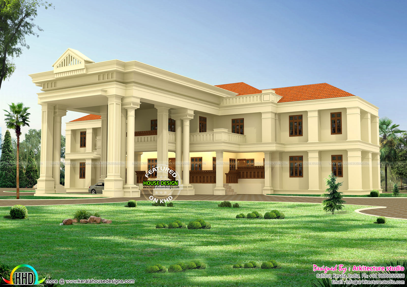 Long pillar colonial home design kerala home design and for Colonial style home design in kerala