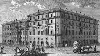 An 18th century engraving of the Palazzo di Propaganda Fide in Rome by Giuseppe Vasi