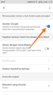 Matikan toggle asisten google