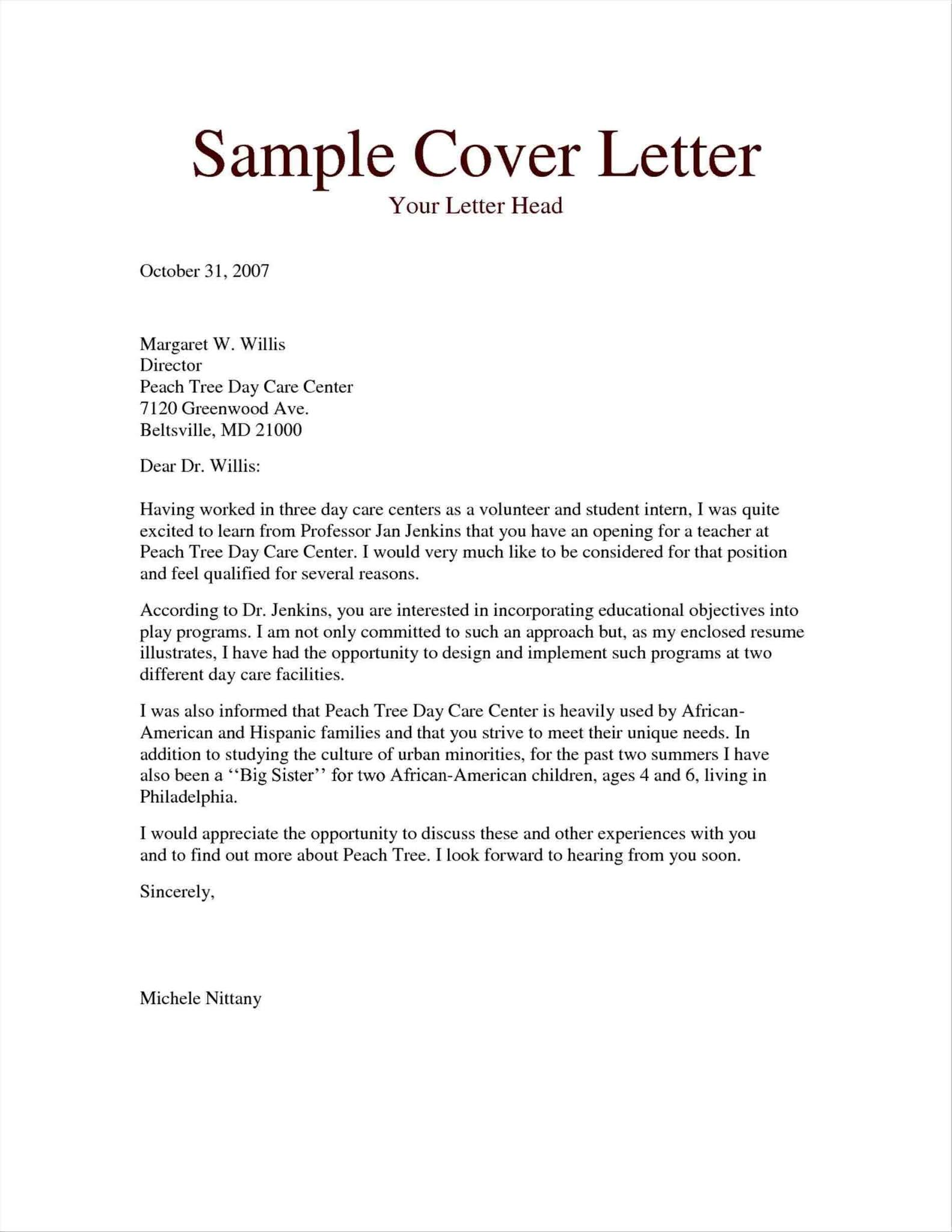 Teaching Cover Letter Examples No Experience Sample Letter