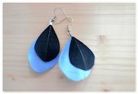boucles d'oreilles plumes bleues et noires
