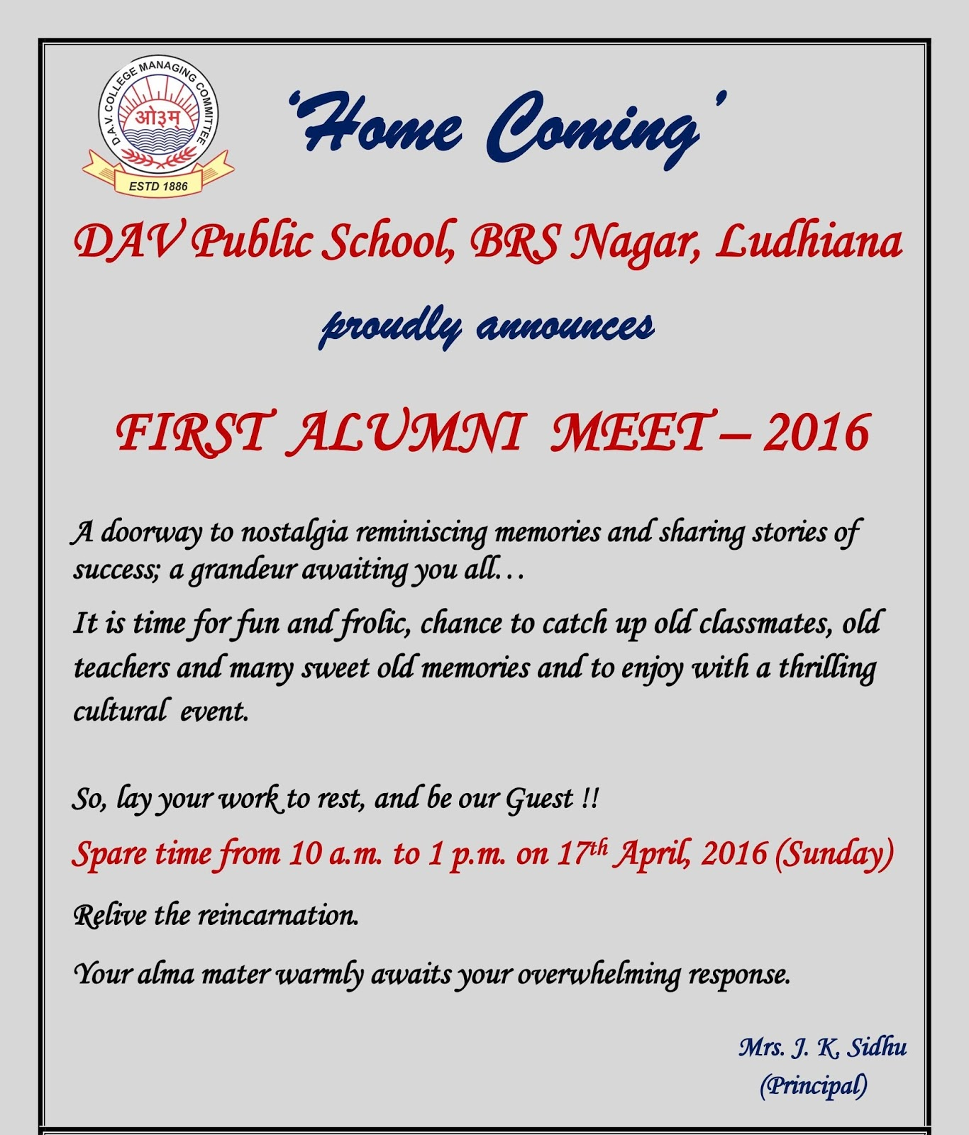 Principals Blog First Alumni Meet 2016