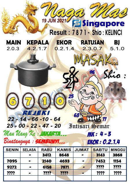 Syair Naga Mas SGP Sabtu 19 Juni 2021