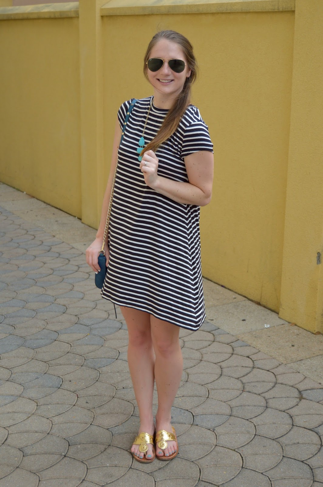 striped dress with gold jack rogers