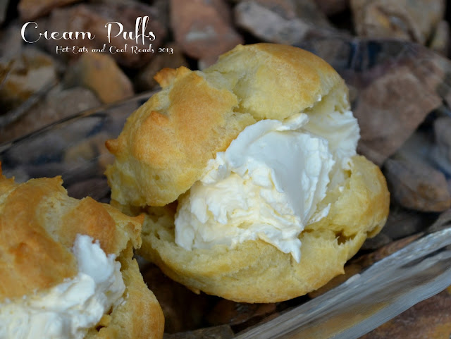 A heavenly treat that uses mascarpone cream for the filling! This dessert is decadent and great for any occasion! Cream Puffs recipe from Hot Eats and Cool Reads