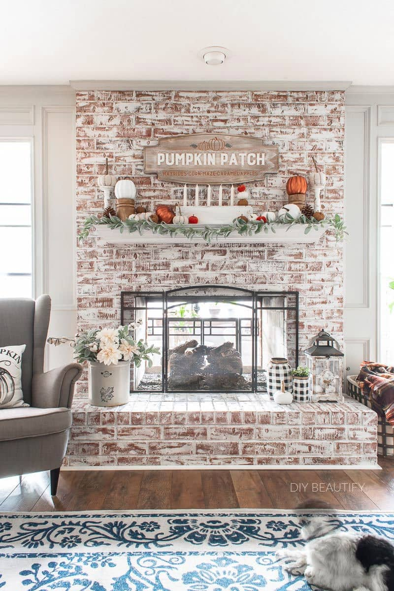 fall fireplace and mantel