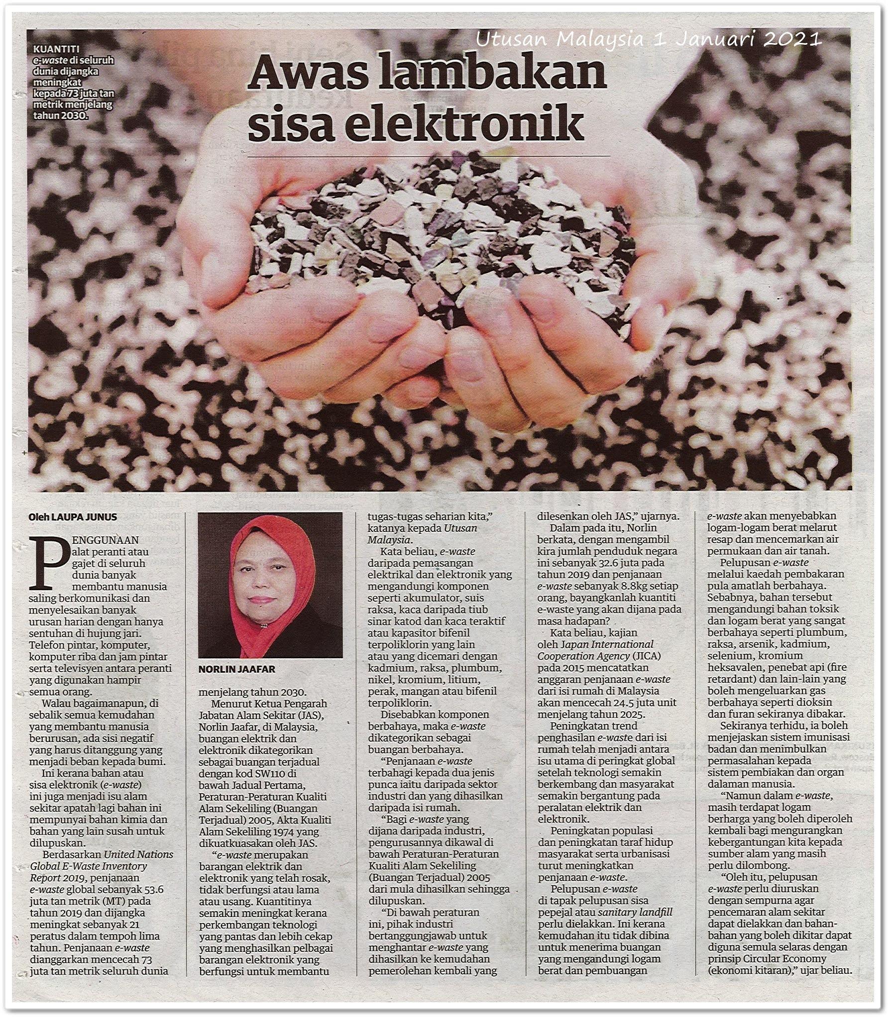 Awas lambakan sisa elektronik - Keratan akhbar Utusan Malaysia 1 Januari 2021