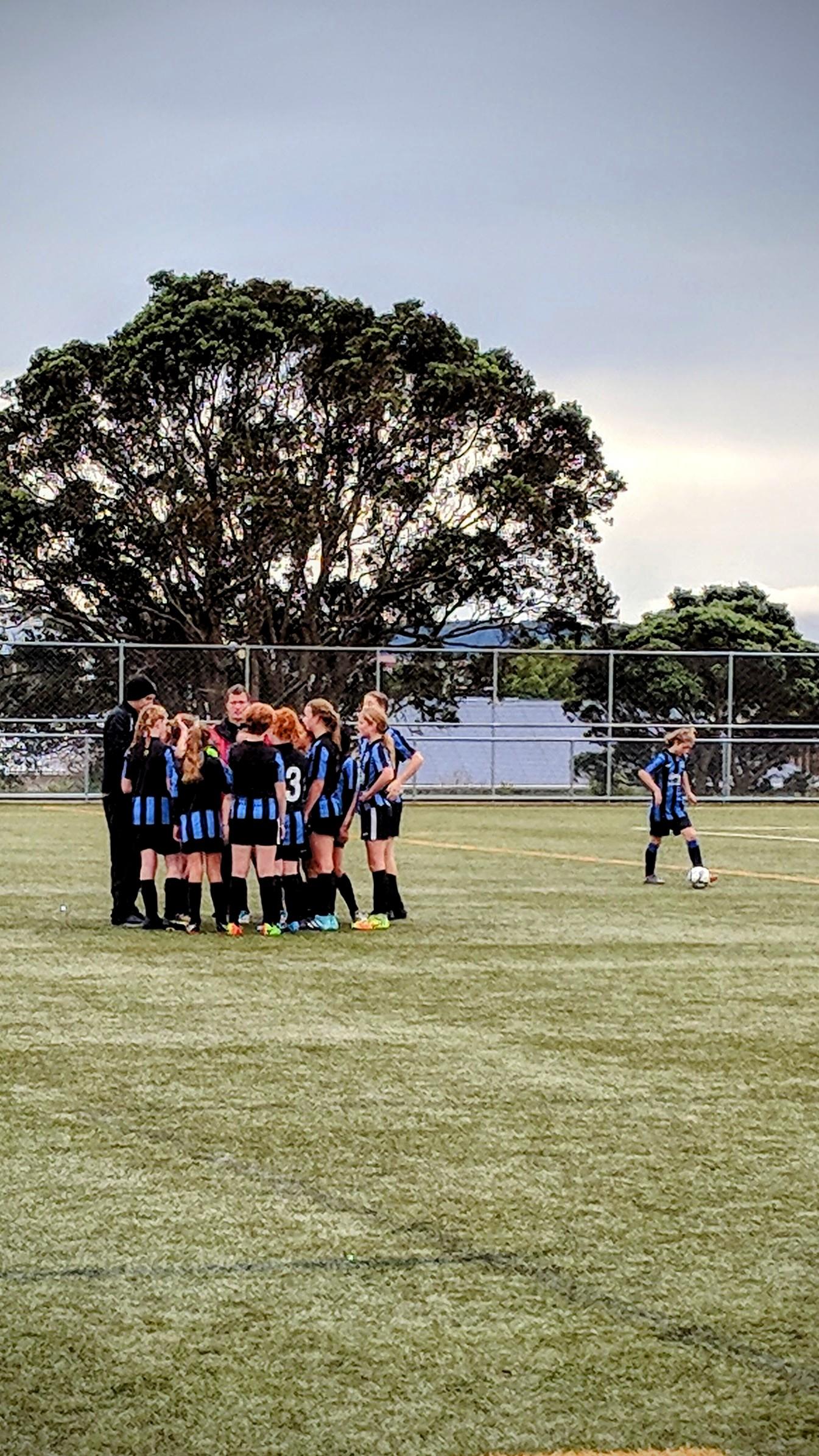 End of soccer game huddle