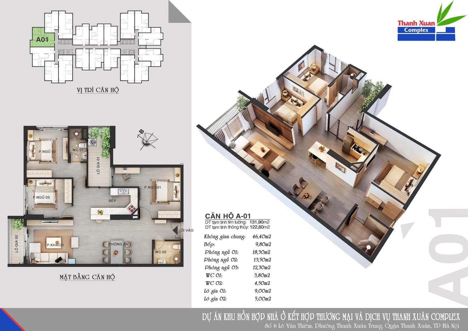 Căn hộ A01 Chung cư Hapulico 24t3 (Thanh Xuân Complex) diện tích tim tường 131,90m2 diện tích thông thuỷ 122,60m2, thiết kế 3 phòng ngủ 2 vệ sinh, ban công Tây Bắc và Đông Bắc, cửa vào Đông Nam.