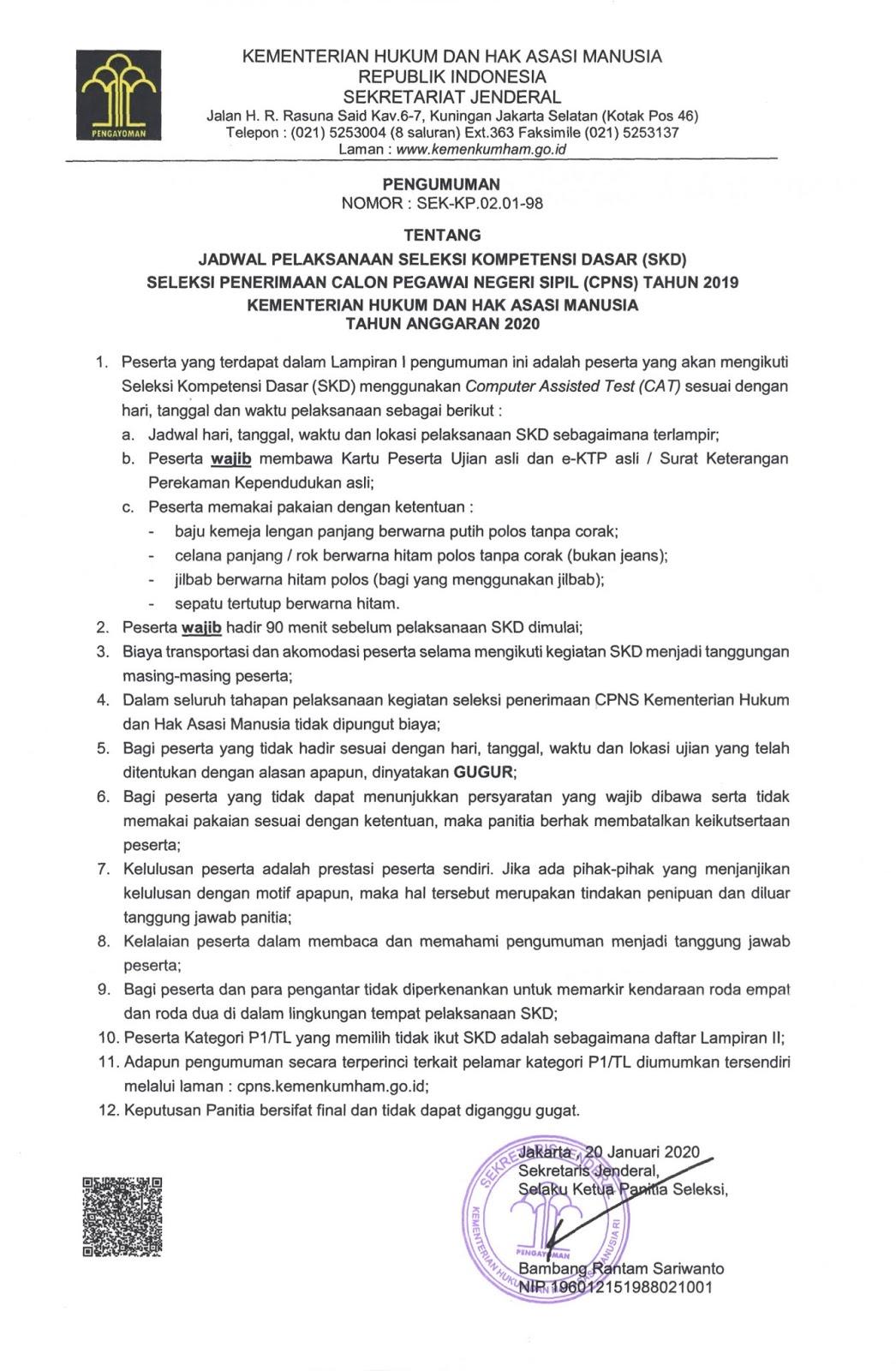 Inilah Jadwal dan Lokasi Ujian SKD CPNS Kemenkumham Seluruh Indonesia