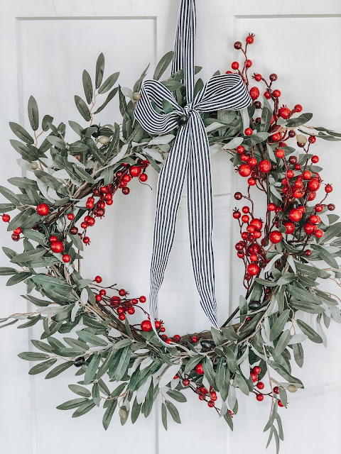 Creative Ways to use Christmas Wreath Olive leaf with red berries