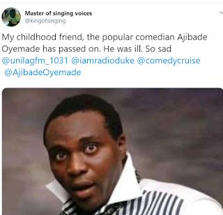 Nigerian Comedian And Radio Host, Ajibade Oyemade Is De@d