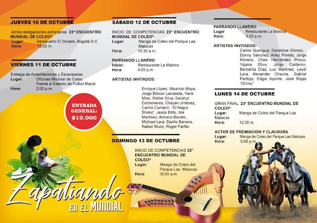 FRONTERA: Programación Oficial 23º Encuentro Mundial de Coleo en Villavicencio Colombia.