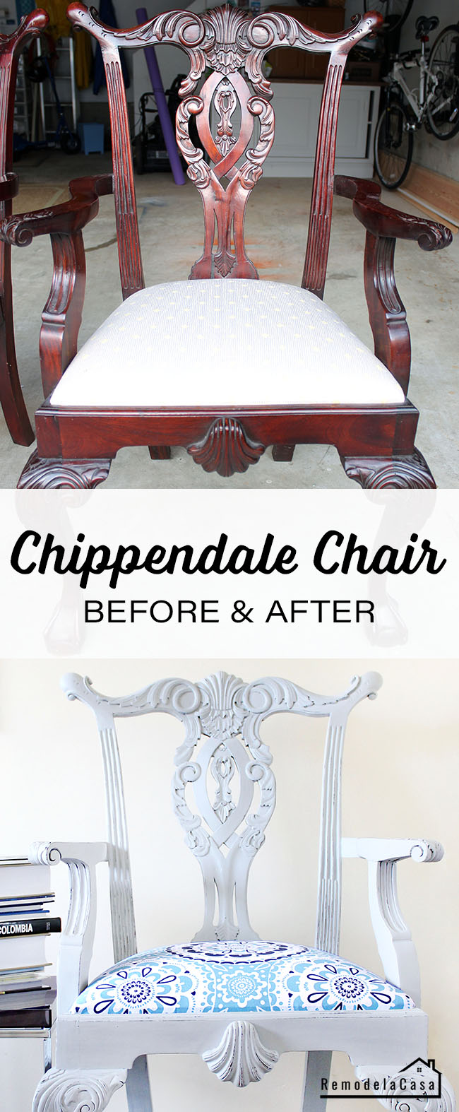 Before and after of Chippendale chair