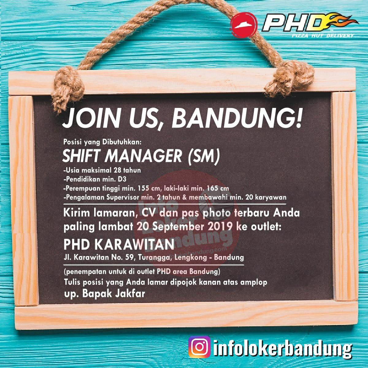 Lowongan Kerja Sebagai Shift Manager Pizza Hut Delivery (PHD) Karawitan Bandung September 2019