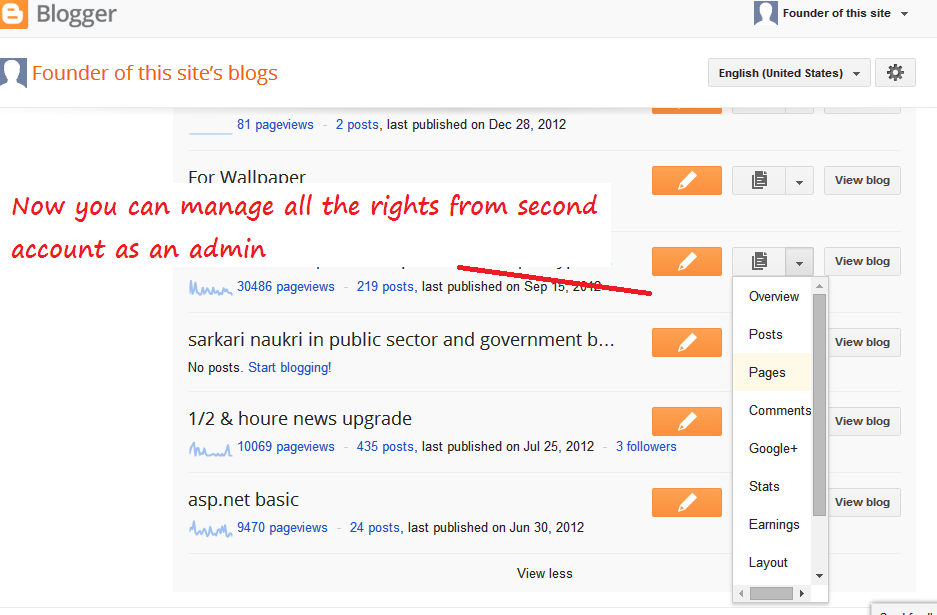 Move to Transfer Blogger blog from one account to another Step 8