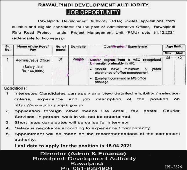 Latest Jobs in Rawalpindi Development Authority RDA 2021