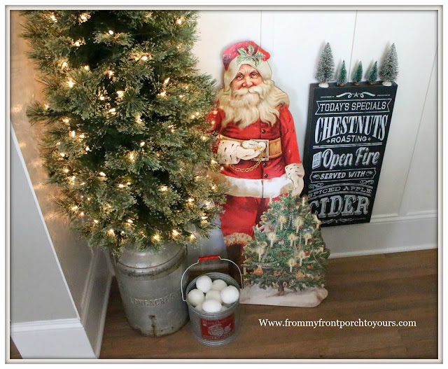 Vintage Milk Can Tree Stand-Vintage Santa-French Country Farmhouse Christmas Dining Room-From My Front Porch To Yours