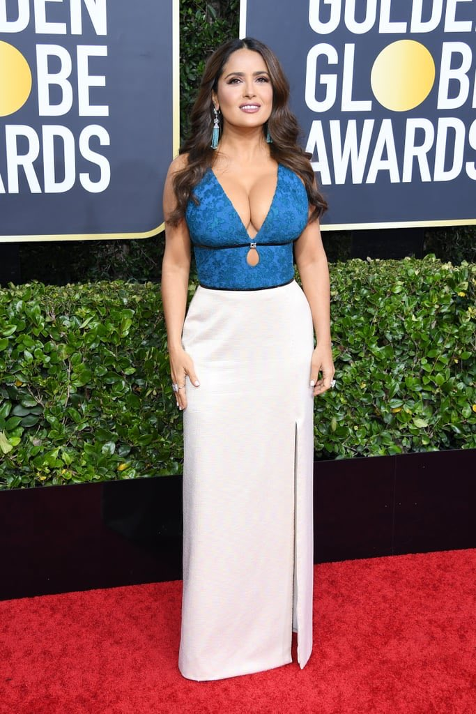 Salma Hayek goes vivacious and busty in Gucci at the 2020 Golden Globe Awards