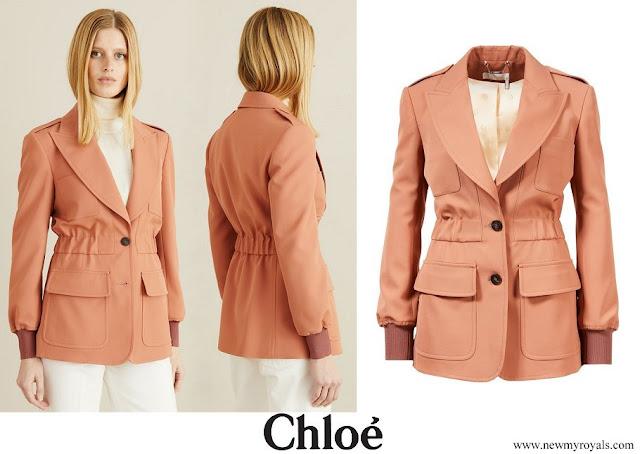 Kate Middleton wore Chloe Cinched Safari Wool Jacket in light grain de poudre
