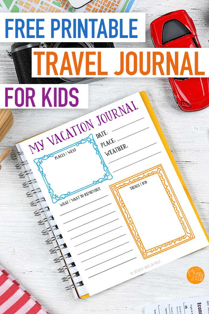 photograph regarding Travel Journal Printable titled No cost Printable Drive Magazine for Small children Sunny Working day Loved ones