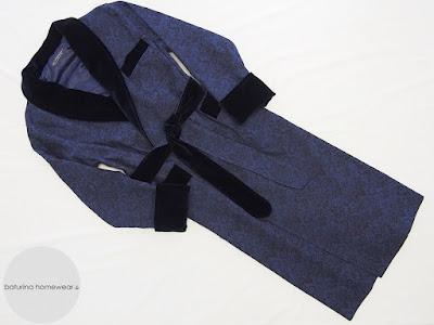 samt baumwolle hausmantel gefüttert lang morgenmantel englischer stil elegant dunkelblau blau navy barock paisley warm
