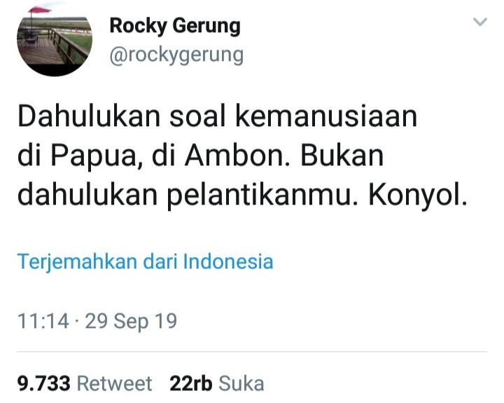 Rocky Gerung: Dahulukan Papua dan Ambon, Bukan Pelantikan