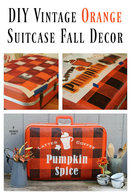 Garage Sale Vintage Orange Suitcase To DIY Fall Decor #stenciling #Oldsignstencils #buffalocheck #buffaloplaid #pumpkinspicelatte #vintagesuitcase #upcycle #fall #autumn