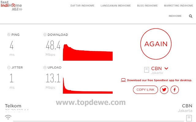 Test speed Wifi Indihome dengan Indihome speed test