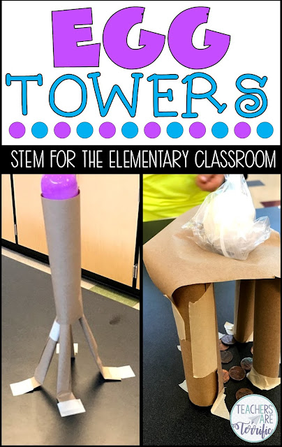 STEM Challenge: Build a tower using paper. It must hold the weight of an egg! Check this post for more tower ideas.