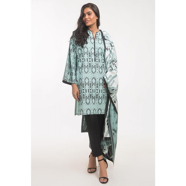 Gul Ahmed Light green color suits ready to wear solids collection