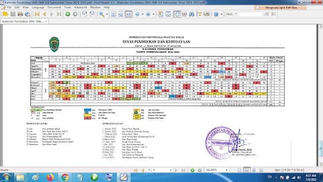 Download Kalender Pendidikan Tahun Pelajaran 2021/2022 Dinas Pendidikan Provinsi Kalimantan Timur