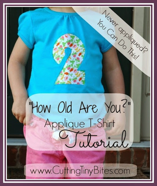 How Old Are You Applique T-Shirt Tutorial.  Sew a sImple homemade gift for kids.