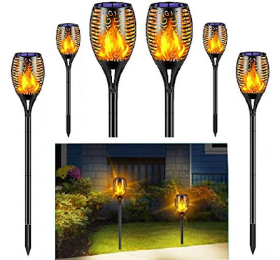 TomCare Solar Torch Lights: Outdoor Weather-proof Nightlights with Auto Power On/Off - Flickering LED-Flame Lamps for Driveways and Pathways