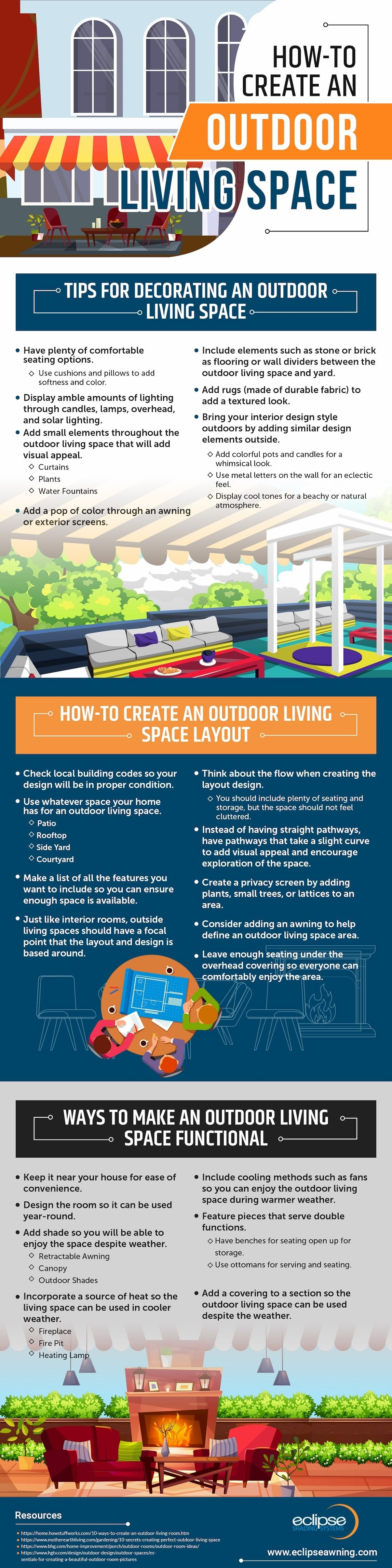 How to Create an Outdoor Living Space #infographic