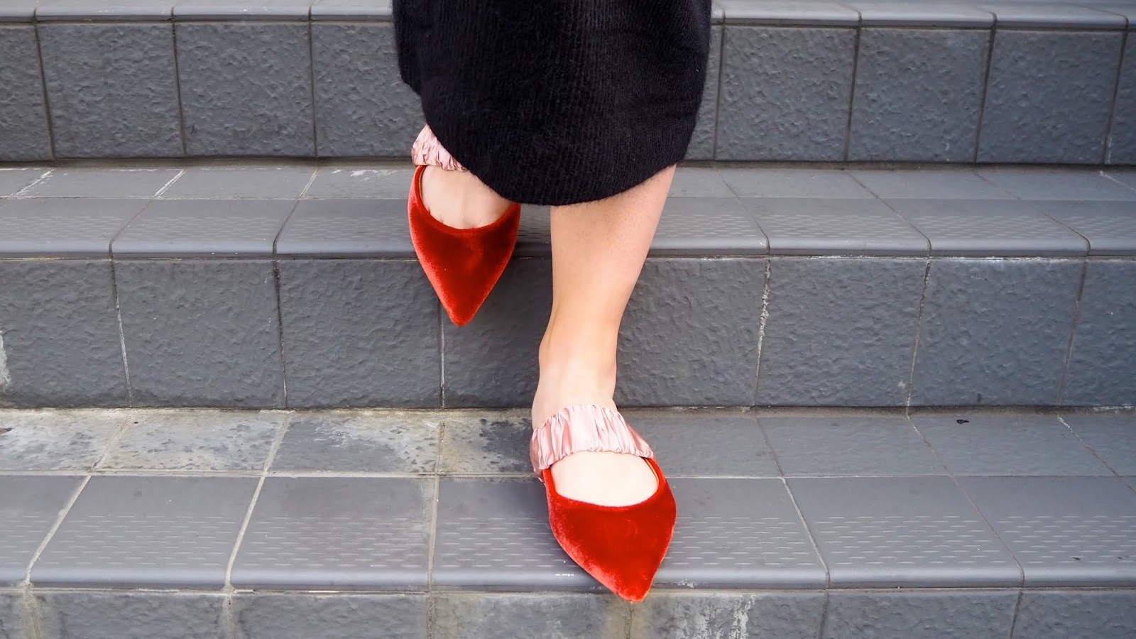 velvet pointed toe slides with contrasting satin elasticated band