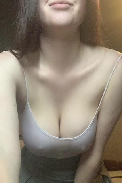 Sweet Girl Pale Tits Exposed White Braless Tshirt Shot
