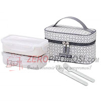 Lock & Lock Lunch Box Set 2P Clover Bag Ivory HPL752CIS