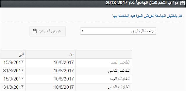 مواعيد التقدم للمدن الجامعية لعام 2017-2018 جميع الجامعات