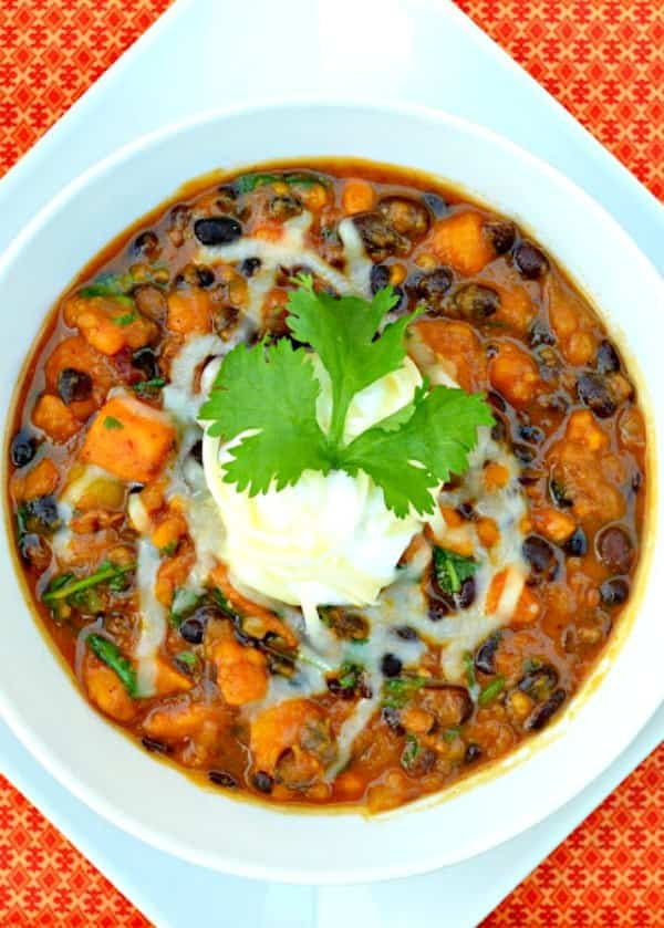 Chicken Sweet Potato Chili recipe with Chipotle Peppers, Pumpkin Ale, and Black Beans from Serena Bakes Simply From Scratch.